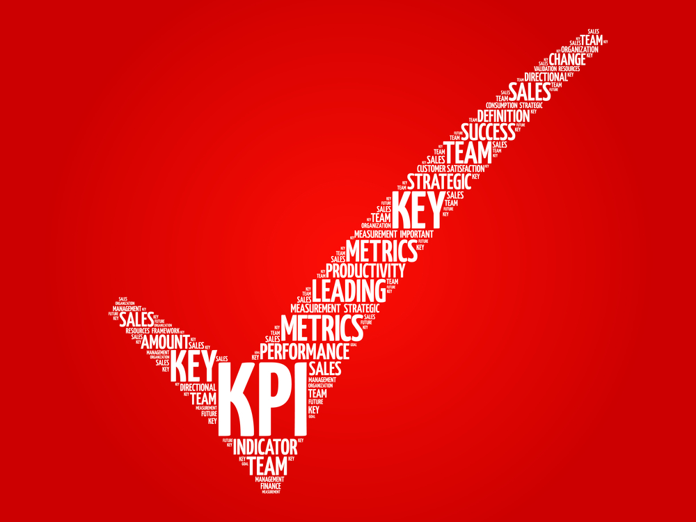 KPI - Key Performance Indicator check mark, vector business concept words cloud